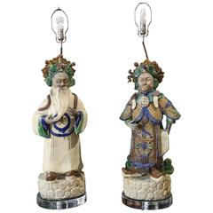 Grand Scale Pair of Tang Style Figural Lamps