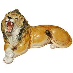 Italian Terra Cotta Figure of a Lion