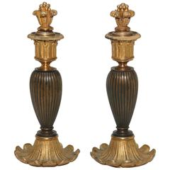 Fanciful 19th Century Bronze Candlesticks with Snuffers