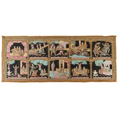 Asian Burmese Kalaga Beads Embroidered Tapestry