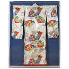 Framed Japanese Ceremonial Kimono in a Lucite Box