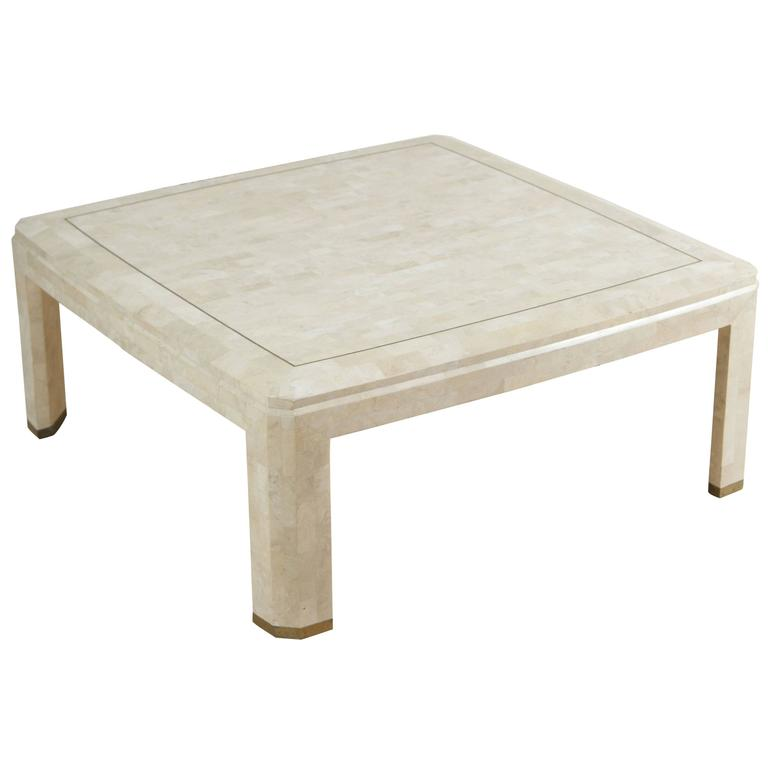 Elegant Maitland Smith Mosaic Square Ivory Coffee Table