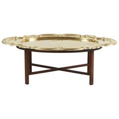 Hollywood Regency Oval Brass Tray Moorish Table