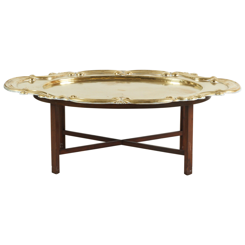 Hollywood Regency Oval Brass Tray Moorish Table
