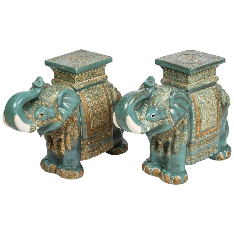 Pair Of Chinese Ceramic Elephant Garden Stools At 1stdibs