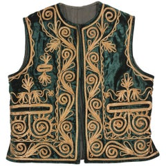 Authentic Ottoman Turkish Vest in Green Velvet