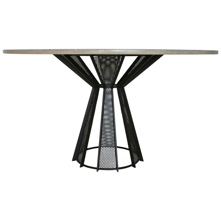 """James de Wulf Harvest Dining Table, 60"""" - Concrete and Steel For Sale"""
