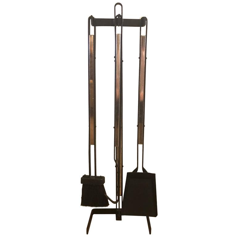 Wrought Iron And Br Mid Century Modern Fireplace Tools For