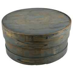Shaker Staved Cheese Box in Original Blue Paint
