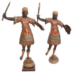 Pair of Painted Wood Sculptural Blackamoors