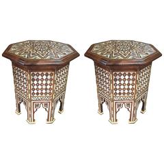 Pair of Moroccan Abalone and Mother-of-Pearl Side Tables