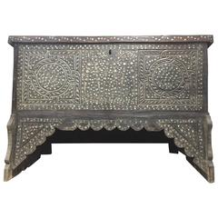 19th Century Syrian Mother-of-Pearl Lift Top Trunk