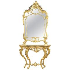 20th Century French Golden Console Table with Mirror with Marble Top
