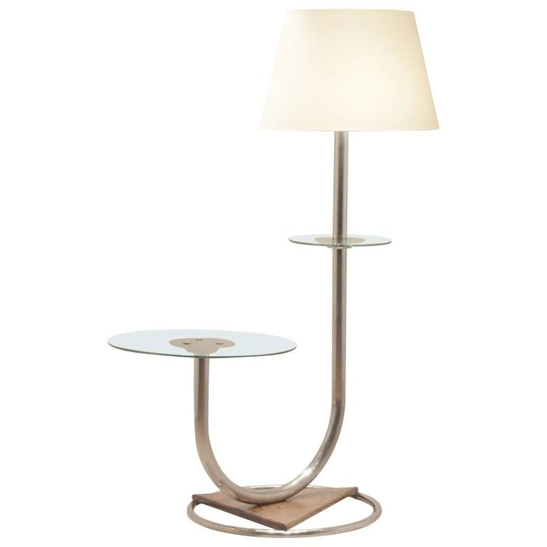 Art deco lighting chromium and walnut combo floor lamp and side art deco lighting chromium and walnut combo floor lamp and side table for sale aloadofball Gallery
