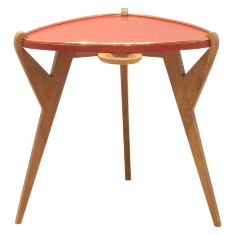 French Mid Century Reconstruction Period Oak Red Lacquered Wood Side Table For