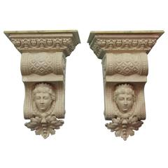 Large Architectural Corbel Wall Brackets with Classical Maiden Images
