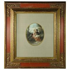 Herman Frederik Carel Ten Kate Watercolor 1850 Young Lovers Baroque Style Frame