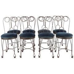 Regency Blue Velvet ice cream salon Chairs