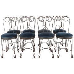 Regency Blue Velvet ice cream salon Chairs