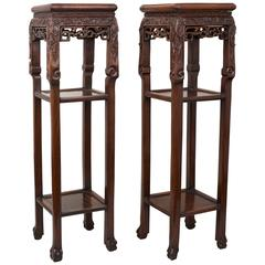 Pair of Chinese Black Wood Hong Mu Square Pedestal Tables, 19th Century
