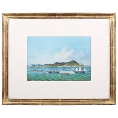 Gouache Painting of the View of Hong Kong with European Ships, circa 1850