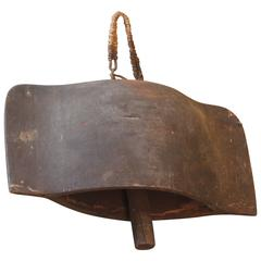 Huge Tibetan Wood Carved Oxen Bell with Clapper, Great Aged Patina