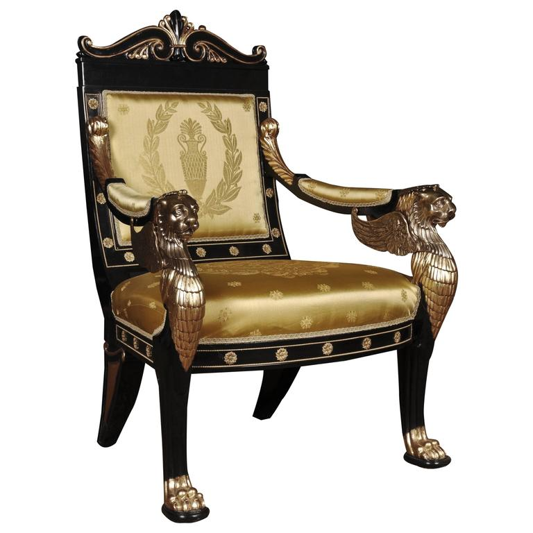 20th Century Empire Style Lion Armchair At 1stdibs