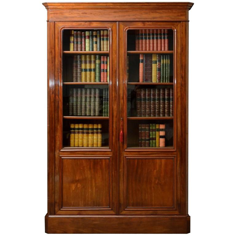 Large 19th Century French Mahogany Bookcase For Sale
