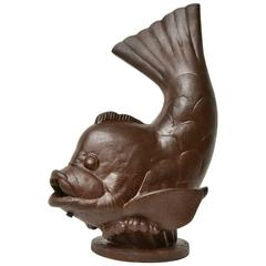 """Swedish Cast-Iron Fountain """"FISK"""" from Näfveqvarns Bruk and Designed by Carl O"""