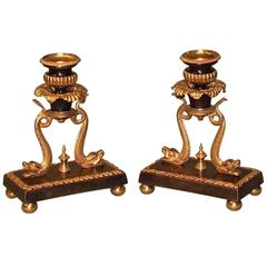 Pair of Early 19th Century Regency Period Bronze and Ormolu Candlesticks with Do