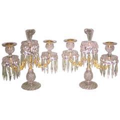Pair of Regency Cut-Glass Lustre Candelabra