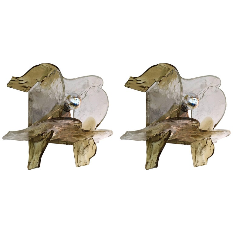 Pair of Sconces by Carlo Nason for Mazzega Murano, Italy, 1970s For Sale