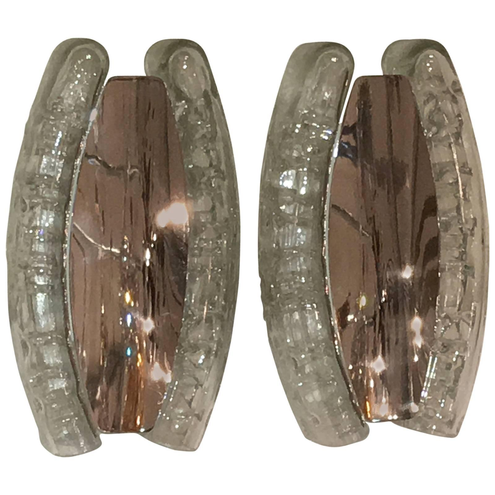 Pair of Chrome and Glass Sconces by Doria Leuchten, Germany