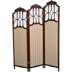 Exceptional Edwardian Three-Panel Folding Screen