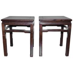 Pair of Chinese Hongmu 'Blackwood' Square Stools