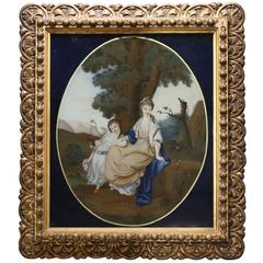 Chinese Reverse Glass Painting of a European Lady and Girl in a Landscape, 1800