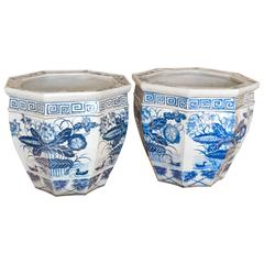 Pair of Blue and White Chinese Fish Bowls