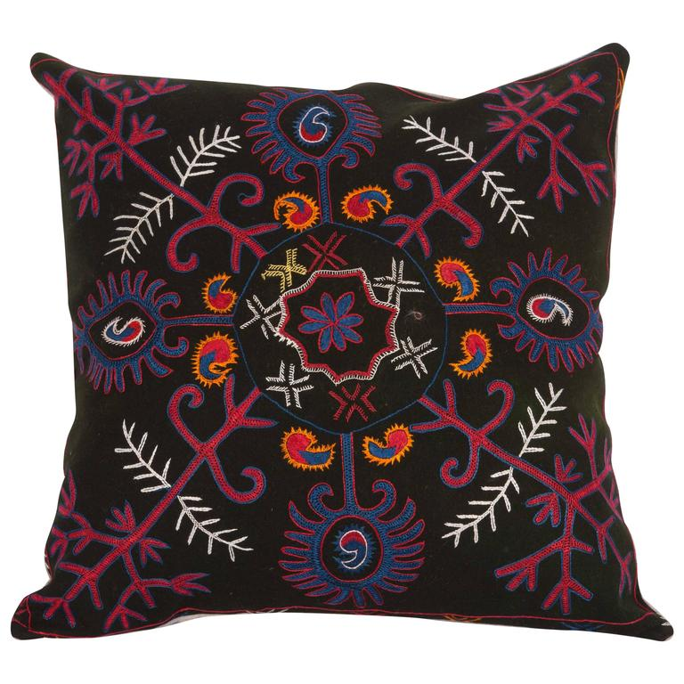 Pillow Made Out of an Early 20th Century Kyrgyz Embroidery For Sale
