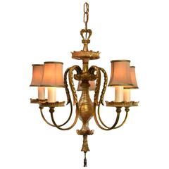 Duran Art Glass Five-Arm Chandelier with Gold Dore