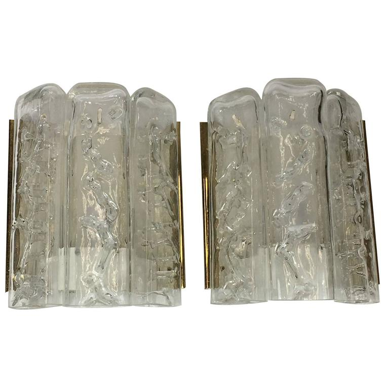 Pair of Brass and Ice Glass Wall Sconces by Doria Leuchten, Germany For Sale