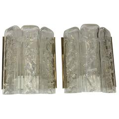 Pair of Brass and Ice Glass Wall Sconces by Doria Leuchten, Germany