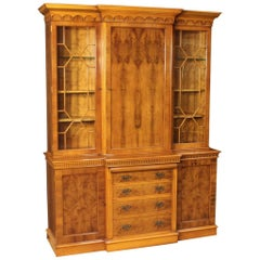 20th Century English Bookcase in Walnut and Burl