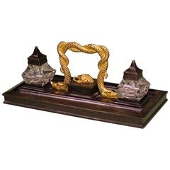 Bronze and Ormolu Pen Tray with Serpent Handle