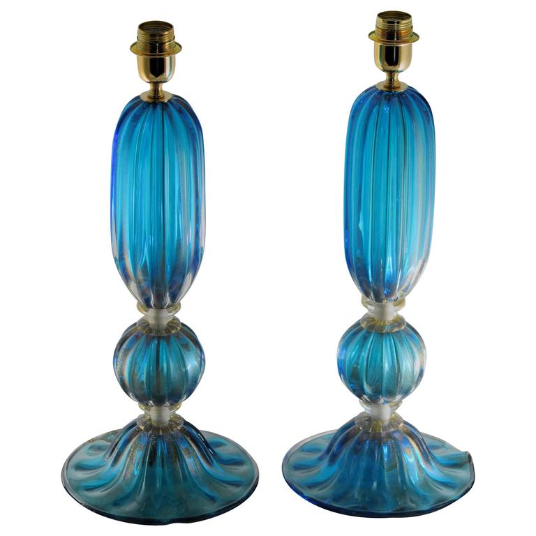 Alberto Donà Pair of Aquamarine Table Lamps, with Gold Leaf