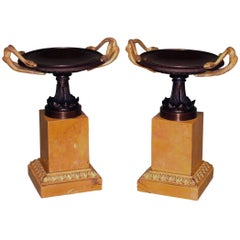 Large Pair of Early 19th Century Bronze and Ormolu Tazzas