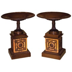 Fine Large Pair of Regency Period Bronze and Marble Tazzas