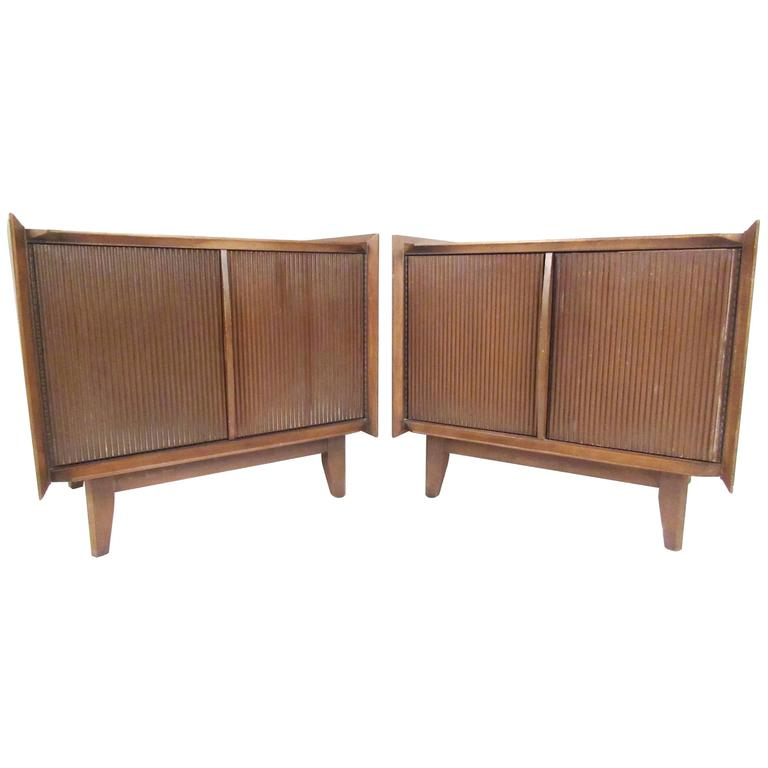 Pair of mid century american walnut nightstands for sale for American walnut bedroom furniture