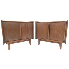 Pair Mid-Century Walnut Nightstands