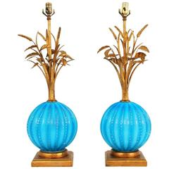 Pair of Murano Lamps Attributed to Barovier & Toso