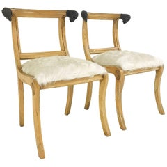 Pair of French Side Chairs with Ram Heads in Ivory Brazilian Cowhide